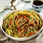 Easy dinner: Use soba noodles, carrot, zucchini, summer squash & red pepper flakes #vegan