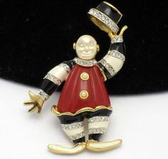 KJL Kenneth Jay Lane Figural Clown Brooch Pin Rhinestone Enamel BK PC   eBay