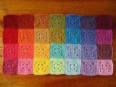 Solid color granny squares!