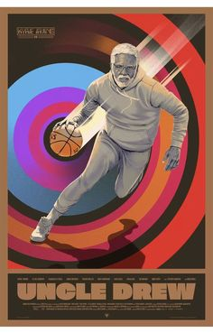 Check out Mondo's upcoming 'Uncle Drew' poster by Oliver Barrett which features NBA All-Star Kyrie Irving as the NBA legend Uncle Drew who is convinced to return to the court one more time. Basketball Posters, Basketball Art, Basketball Pictures, Basketball Legends, Custom Basketball, Basketball Design, Irving Wallpapers, Nba Wallpapers, Karl Marx