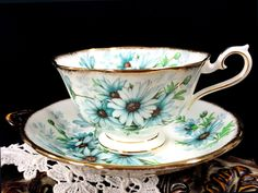 Royal Albert Marguerite Teacup and Saucer, Avon Shaped High Handled Wide Mouthed Tea Cup