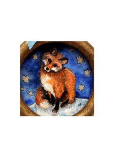 Original 'Midnight Fox' mixed media artwork