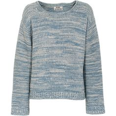 ACNE Studios Sapata Twist Sky Cropped cotton knit sweater ($245) ❤ liked on Polyvore