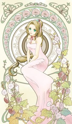 Aeris/Aerith Gainsborough. Final Fantasy 7. Art Nouveau.