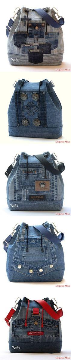 Nielia - 2 bags of jeans - Denim wonders! Mochila Jeans, Jean Diy, Denim Handbags, Denim Purse, Denim Ideas, Denim Crafts, Recycled Denim, Patchwork Bags, Handmade Bags