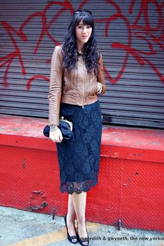 Discover this look wearing Lace Pencil J Crew Skirts, Leather Haute Hippie Jackets, Chain J Crew Bags - 2 Ways To Update a Classic Lace Skirt by mkandthenewyorkie styled for Classic, Everyday in the Fall Lace Skirt, Sequin Skirt, Pentecostal Outfits, J Crew Skirt, Pencil Skirt Outfits, Leather And Lace, Leather Jacket, Navy Lace, Church Outfits