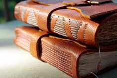 Rustic Leather Journal/Sketchbook by PocosTomes on Etsy