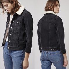 Topshop Denim & Shearling Moto Jacket Add cool edge to the denim jacket with outdoor western style. Crafted from pure cotton, it comes with a soft borg collar and a button front. With handy chest pockets. Interior lines in faux shearling. 100% Cotton. Machine wash. Color: Washed Black. Excellent condition, worn once. Topshop Jackets & Coats