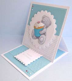 Tatty Teddy Easel Card by: DeliaPrime Step Cards, Birthday Cards For Women, Handmade Birthday Cards, Tatty Teddy, Boy Cards, Kids Cards, Fun Fold Cards, Folded Cards, Tarjetas Pop Up