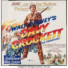 Davy Crockett, King of the Wild Frontier (Buena Vista, Folded, Very Fine-. Six Sheet X - Available at Sunday Movie Posters Weekly. Live Action Movie, Action Movies, Buddy Ebsen, Sunday Movies, Davy Crockett, Old Hollywood Movies, Westerns, Best Movie Posters, Hooray For Hollywood