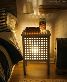 Night Light! Grönö Table Lamp inside a Hol Side Table via thinkingcloset.com