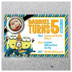 DESPICABLE ME / Party invitation / Personalized / Digital Printable Art with photo