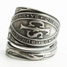 Christian Ring, Sterling Silver Spoon Ring, Bear Ye One Anothers Burdens, Fraternal Ring, Christian Gift Ring, Adjustable Ring Size (6442) by Spoonier on Etsy