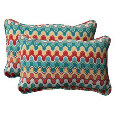 Pillow Perfect Outdoor Blue Nivala Corded Rectangular Throw Pillows (Set of 2)