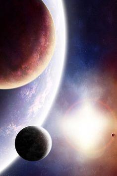 Moons orbiting around a blue planet. #Light #Space #Star #Sun #Color #The planet #Satellites. http://www.mindblowingpicture.com/wallpaper/space/wpar3l6k.html