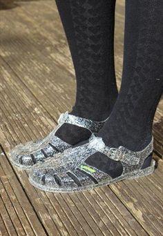 NEW: Silver Glitter Jelly 90s Retro Plastic Rubber Sandals