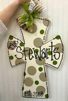 Wooden Door Hanger Cross / Personalized door hanger / Wooden Cross / Religious Door Hanger / Craft Night Out located in Statesville Nc