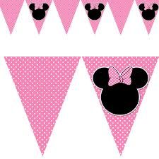 Printable Minnie Mouse Inspired Birthday Party Flag by pinkthecat Minie Mouse Party, Minnie Mouse Theme, Minnie Mouse Baby Shower, Pink Minnie, Mickey Mouse, Mickey Birthday, Mickey Party, First Birthday Parties, First Birthdays