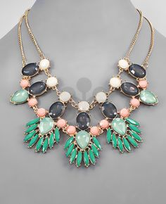 teal/pink/grey statement necklace