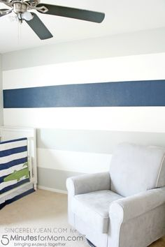 Today I am bringing you an easy way to paint stripes on your wall. W Hey sistas! Today I am bringing you an easy way to paint stripes on your wall. Striped Room, Grey Striped Walls, Blue Striped Walls, Striped Walls Bedroom, Grey Bedroom With Pop Of Color, Gray Striped Walls, Striped Walls, Bedroom Paint, Nursery Accent Wall