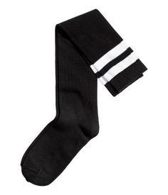 Black. Fine-knit over-knee socks in a cotton blend.