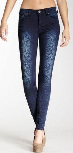 Peak-A-Boo Rose Print Skinny Jean  I don't like the size (toooo skinny!), I LOVE the pattern!!