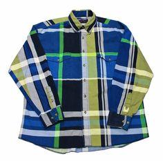 Vintage Wrangler Plaid Button Down Shirt Mens Size 34 - 16 1/2 (Large)