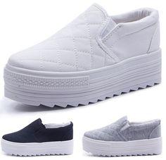 buy popular 90f59 e40af Aliexpress.com  Comprar Zapatos femeninos 2016 mujeres plataformas calzado  mujer color sólido blanco negro gris 3 colores zapatos de lona WSH468 de  zapatos ...