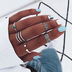 Hand Jewelry, Simple Jewelry, Cute Jewelry, Jewelry Rings, Jewelry Accessories, Bling Jewelry, Handmade Jewelry, Cute Acrylic Nails, Gel Nails