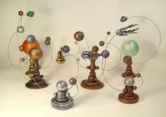 Orrery Solar System Model Space Cadet Miniature Sun and Planets Alien Star and Moons Victorian Steampunk Wood Sculpture