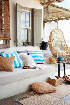 Beach house inspired outdoor patio space with plenty of jute