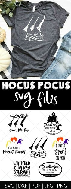 Hocus Pocus SVG Files - Fall Shirts - Ideas of Fall Shirts Fall Shirts for sales. - Hocus Pocus SVG Files Make your own Hocus Pocus shirts with these DIY Disney Halloween cut files! Perfect for Mickeys Not-So Scary Halloween Party! Plotter Silhouette Cameo, Silhouette Cameo Projects, Silhouette Files, Cricut Vinyl, Cricut Air, Shilouette Cameo, Hocus Pocus Shirt, Scary Halloween, Halloween Party