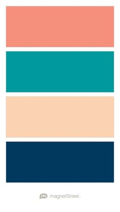 Coral, Teal, Peach, and Navy Wedding Color Palette - custom color palette created at MagnetStreet.com