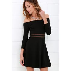 Yes to the Mesh Black Skater Dress ($49) ❤ liked on Polyvore featuring dresses, black, black fitted dress, black dress, off shoulder dress, black circle skirt and lulu dresses