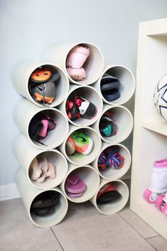 DIY PVC Pipe Organizer for Your ShoesYou can find Shoes organizer and more on our website.DIY PVC Pipe Organizer for Your Shoes Diy Shoe Storage, Hidden Storage, Storage Ideas, Shoe Storage Solutions, Shoe Cubby, Attic Storage, Closet Storage, Bedroom Storage, Entry Closet