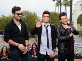 ♥♫♪♥ Ignazio Boschetto, Piero Barone and Gianluca Ginoble of Il Volo visit 'Extra' at Universal Studios Hollywood on November 20, 2013 in Los Angeles, California.