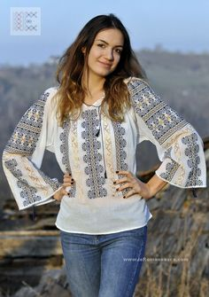Here you can buy Romanian peasant blouses ie and folk costumes traditional clothes. Worldwide shipping for hand embroidered Romanian blouse dress Peasant Blouse, Blouse Dress, Diy Clothes, Clothes For Women, Folk Costume, Embroidered Blouse, Fashion Outfits, Womens Fashion, Traditional Outfits