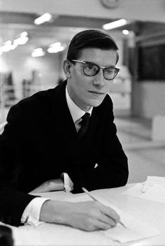 Yves Saint Laurent on the day before the opening of his first collection for Dior, Photo: Inge Morath. Ysl, Christian Dior, Inge Morath, Best Eyeglasses, French Fashion Designers, Magnum Photos, Actors, Glam Rock, Fashion History