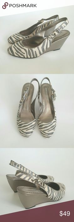 Johnson & Murphy Two Tone Slingback Wedge Like new , Coated canvas in two tone  with metallic reflections,  heels covered with leather , lining leather too, wedge Slingback,  perfect for any outfit, going well with pants or skirt. Johnston & Murphy Shoes Sandals