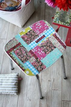 vintage formica furniture refashioned with pieces of Liberty fabric!