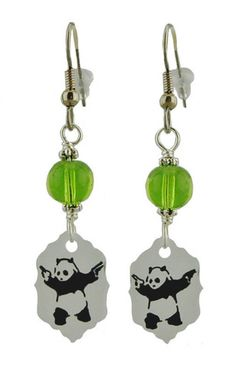 Panda With Handguns Earrings   Unique Creations by Amy   Funky handmade jewelry