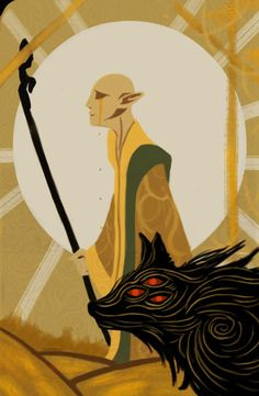 """fawke: """"Tried my hand at a dragon age inquisition tarot card thingy, with everyone favorite elf ;) """""""