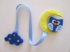 Owl bookmark, Felt bookmark, Moon bookmark, Gift for Readers, Birthday gift, Cloud bookmark, Book marker, Handmade gift