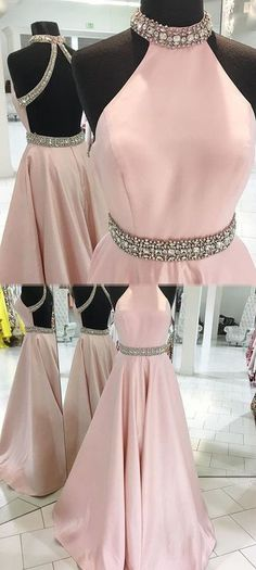 Pink Prom Dresses, Backless Prom Gown,Beading Prom Dress,A Line Prom Dress,Long Evening Dress