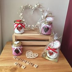 Mother's Day Heart Glass Treat Jars #Mother's Day #Heart #Glass Jars #Handmade