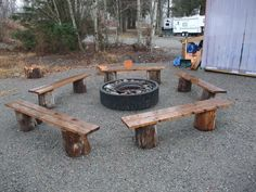 I like the fire pit benches! My firepit is made of stones (rustic...lol)