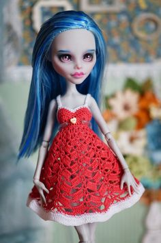 Crocheted dress for Monster High Ever After High dolls