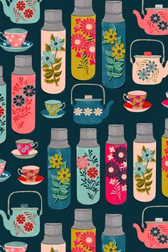 tea thermos // vintage tea florals tea party cute thermos design by andrea_lauren - Beautiful hand illustrated tea thermos and tea pot design in bold vintage colors on fabric, wallpaper, and gift wrap. #design #surfacedesign #homedecor #tealover #thermos #tealove #printmaking