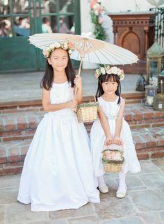 Cutie flower girls: http://www.stylemepretty.com/california-weddings/san-juan-capistrano/2016/06/30/parasols-pastel-bouquets-see-the-ultimate-garden-ceremony/ | Photography: Bowtie & Bloom Photography - http://bowtieandbloom.com/