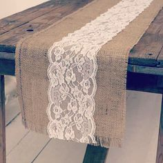 Laces and hessian... Beautiful table runner